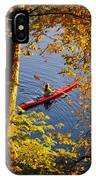 Woman Kayaking With Fall Foliage IPhone Case
