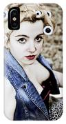 Woman With Curlers IPhone Case
