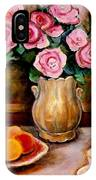Yellow Daffodils Red Roses  Peaches And Oranges With Tea Cup  IPhone Case