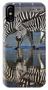 Zebras Drinking Ngorongoro Crater Tanzania IPhone Case