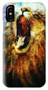 Painting Of A Mighty Roaring Lion Emerging From An Abstract Desert Pattern Pc Collage IPhone Case