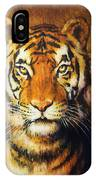 Tiger Head, Color Oil Painting On Canvas. IPhone Case