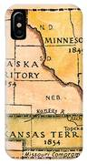 Kansas-nebraska Map, 1854 IPhone Case