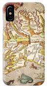 Iceland: Map, 1595 IPhone Case
