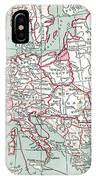 Map Of Europe, 12th Century IPhone Case