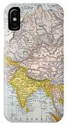 Asia Map Late 19th Century IPhone Case