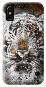 Tiger Collage On Color Abstract  Background  Rust Structure Wildlife Animals IPhone Case