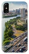 Aerial View Of The Austin Skyline As Rush Hour Traffic Picks Up On I-35 IPhone Case