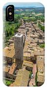 Aerial Wide-angle View Of The Historic Town Of San Gimignano Wit IPhone Case