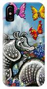 Armadillos Bluebonnets And Butterflies IPhone Case