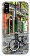 Bike And Lamppost In Pirate's Alley IPhone Case