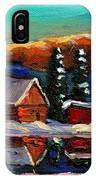 Canadian Art Laurentian Landscape Quebec Winter Scene IPhone Case