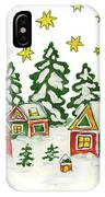 Christmas Picture In Green And Yellow Colours IPhone Case