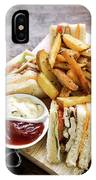 Classic Club Sandwich With Fries On Wooden Board IPhone Case