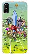 Dallas Texas Cartoon Map IPhone Case