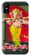 Dancing Ganapati With Universe And Abstract Back Ground IPhone Case