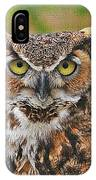 Great Horn Owl Nature Educator IPhone Case