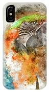 Green And Orange Macaw Bird Digital Watercolor On Photograph IPhone Case