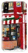 Original Montreal Paintings For Sale Peintures A Vendre Restaurant La Quebecoise Deli IPhone Case