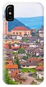 Idyllic Alpine Town Of Kastelruth On Green Hill View IPhone Case