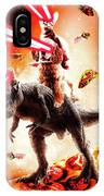 Laser Eyes Space Cat Riding Dog And Dinosaur IPhone Case