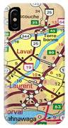 Montreal Map. Quebec. IPhone Case