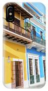 Old San Juan Houses In Historic Street In Puerto Rico IPhone Case