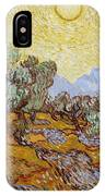 Olive Trees With Yellow Sky And Sun IPhone Case
