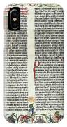 Page Of The Gutenberg Bible, 1455 IPhone Case