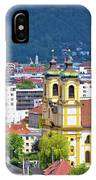 Panoramic Aerial View Of Innsbruck And Hafelekarspitze Mountain IPhone Case