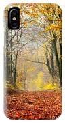 Path Of Red Leaves Towards Light In Fall Forest IPhone Case