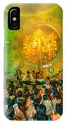 People Enjoying Inside Durga Puja Pandal Durga Puja Festival IPhone Case