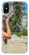 Photographer In Yosemite Waterfalls IPhone Case