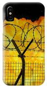 Realistic Orange Fire Explosion Behind Restricted Area Barbed Wire Fence IPhone Case
