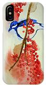 Red Berry Blue Bird IPhone Case