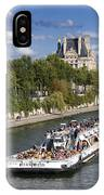 Sightseeing Boat On River Seine To Louvre Museum. Paris IPhone Case