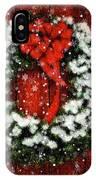Snowy Christmas Wreath Card IPhone Case