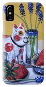 Spotted Cat With Strawberries IPhone Case