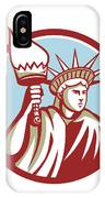 Statue Of Liberty Holding Flaming Torch Circle Retro IPhone Case