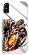 Stewed Fresh Mussels In Spicy Garlic Wine Seafood Sauce IPhone Case