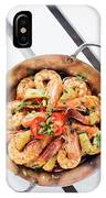 Stir Fry Prawns In Spicy Asian Pineapple And Herbs Sauce IPhone Case