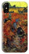 The Red Vineyard At Arles IPhone Case
