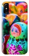 Family Of Mother Russia Matryoshka Dolls Oil Painting Photograph IPhone Case