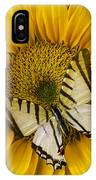 White Butterfly On Sunflower IPhone Case