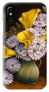 Yellow Calla Lilies In A Green Pitcher IPhone Case