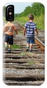 Young Boys On Railway Tracks IPhone Case