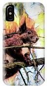 11451 Red Squirrel Sketch IPhone Case