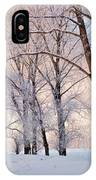 Amazing Landscape With Frozen Snow Covered Trees At Sunrise   IPhone Case