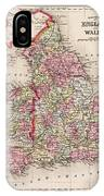 1800s Wales County Map Wales England Color IPhone Case