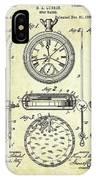 1889 Stop Watch Patent Art S. 1 IPhone Case